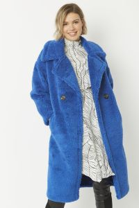 Faux Shearling Coat Cobalt Blue