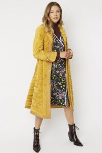 Faux Suede Coat with Faux Fur Panelling Yellow