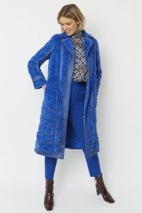 Faux Suede Coat with Faux Fur Panelling Blue