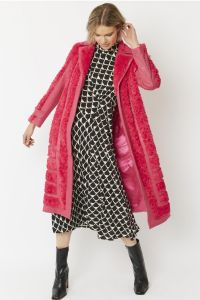 Faux Suede Coat with Faux Fur Panelling Cerise Pink