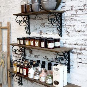 Fir Wooden Shelf With Metal Brackets