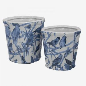 Flower Planters With Blue Birds S/2