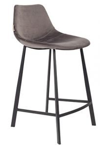COUNTER STOOL FRANKY VELVET - GREY