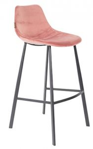 COUNTER STOOL FRANKY VELVET - OLD PINK