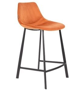 COUNTER STOOL FRANKY VELVET - ORANGE