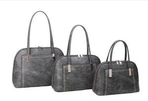 grey and silver threaded handbag - small