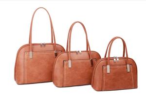 Brown and silver threaded handbag - small