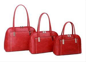red and silver threaded handbag - small
