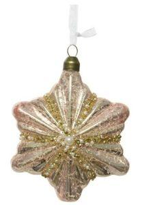 Glass Star Christmas Tree Ornament Blush Pink
