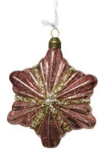 Glass Star Christmas Tree Ornament Velvet Pink