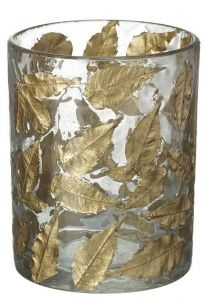 Gold Leaf Candle Holder Small