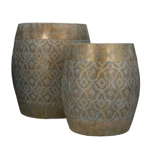 Set of Two Gold Barrel Stools