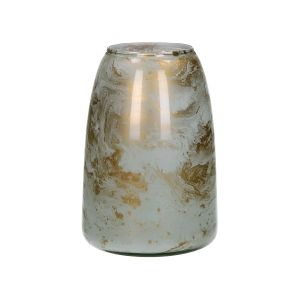 Gold And White Glass Vase