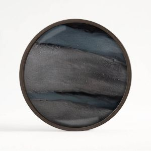 Graphic Organic Glass Valet Tray Round Small