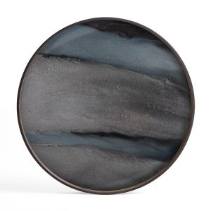 Graphite Organic Glass Tray Round Large