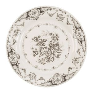 Grey And White Floral Dinner Plate