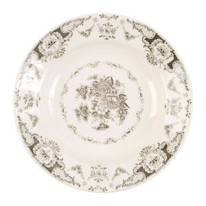 Grey And White Floral Soup Plate