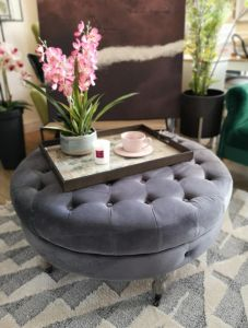 Ruby Round footstool Dark Grey