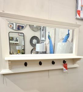 Anna Mirror With Shelf And Hook  White