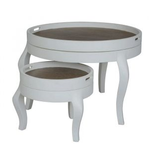 Helena White Circular Nest of Tables Wood Top