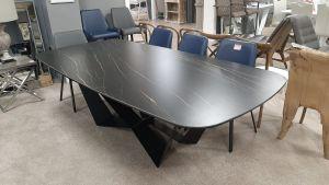 Basilico Calcatta Noir Ceramic Table D-End Powder Coated W Frame