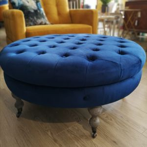 Ruby Round footstool Navy