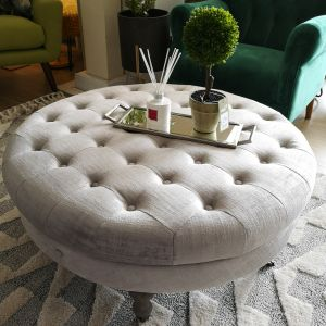 Ruby Round footstool Shimmer