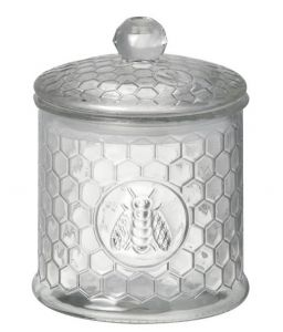 Jar With Lid Bee Honeycomb Glass