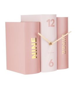 Table Clock Book Pink Tone
