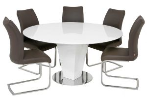 Lombardy 1.5M Round High Gloss White Table