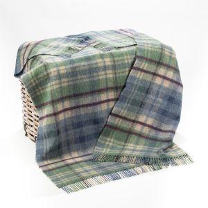 Large Wool Throw Picnic Blanket Blue/Green