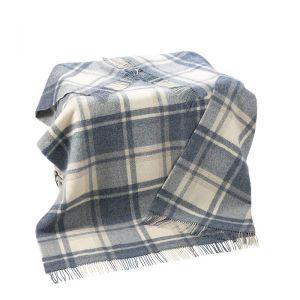 Large Wool Throw Picnic Blanket Denim Blue Plaid