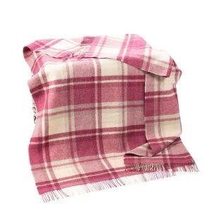 Large Wool Throw Picnic Blanket Pink/Cream