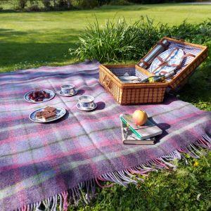 Large Wool Throw Picnic Blanket Purple/Pink/Green Tartan