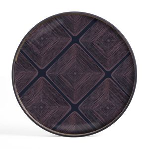 Midnight Linear Squares Glass Tray Round Small