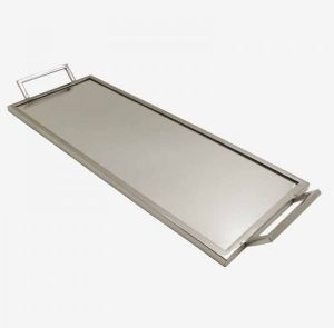 Flat Silver Mirror Tray With Handles