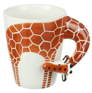 Mug Giraffe Porcelain White Orange