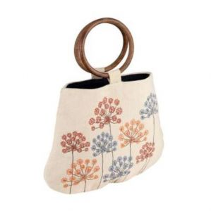 Nude Floral Carrier Bag With Wooden Handles