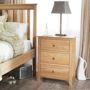 Salisbury Oak Bedside Table 3 Drawer