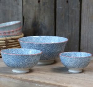 Old French Latte Bowl With Pattern S/3 Dusk Blue
