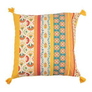 Orange Multi Colored Tassel Cushion