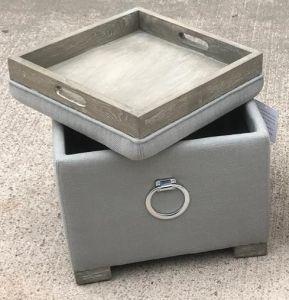Oscar Grey Footstool/Tea Tray Ottoman