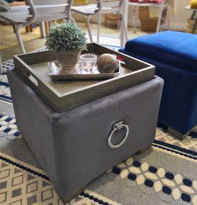 Oscar Grey Velvet Footstool/Tea Tray Ottoman