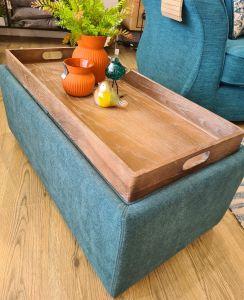 Oscar sea green Footstool / Tea Tray Ottoman