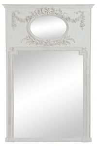Antique Oval/Rectangular Flower Wood Mirror