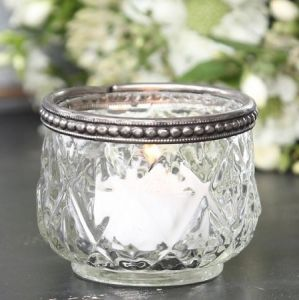 Pearl Edge Glass Tealight Holder