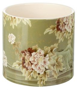 Peonies Planter Ceramic Green Large