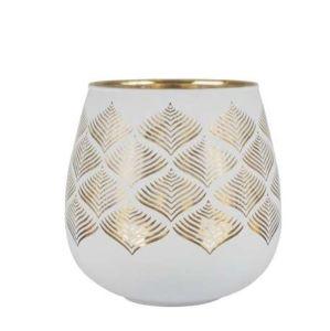 Photophore Menez White/Gold Glass Small