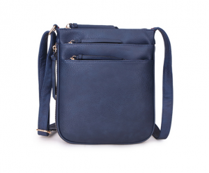 shoulder bag with multi zips - navy
