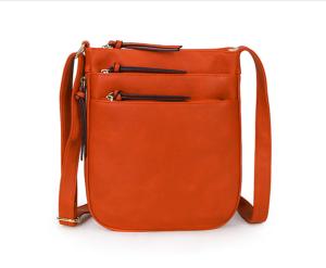 shoulder bag with multi zips - orange